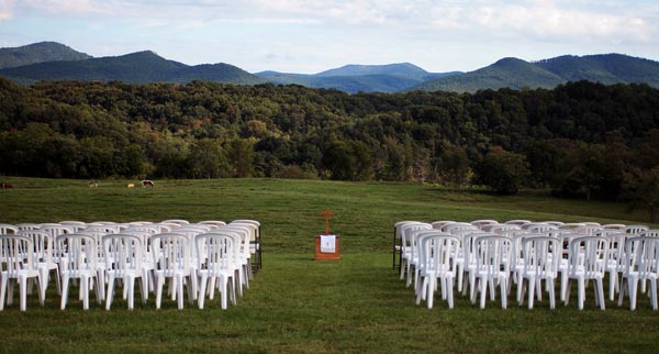 Wedding ceremony set up in field